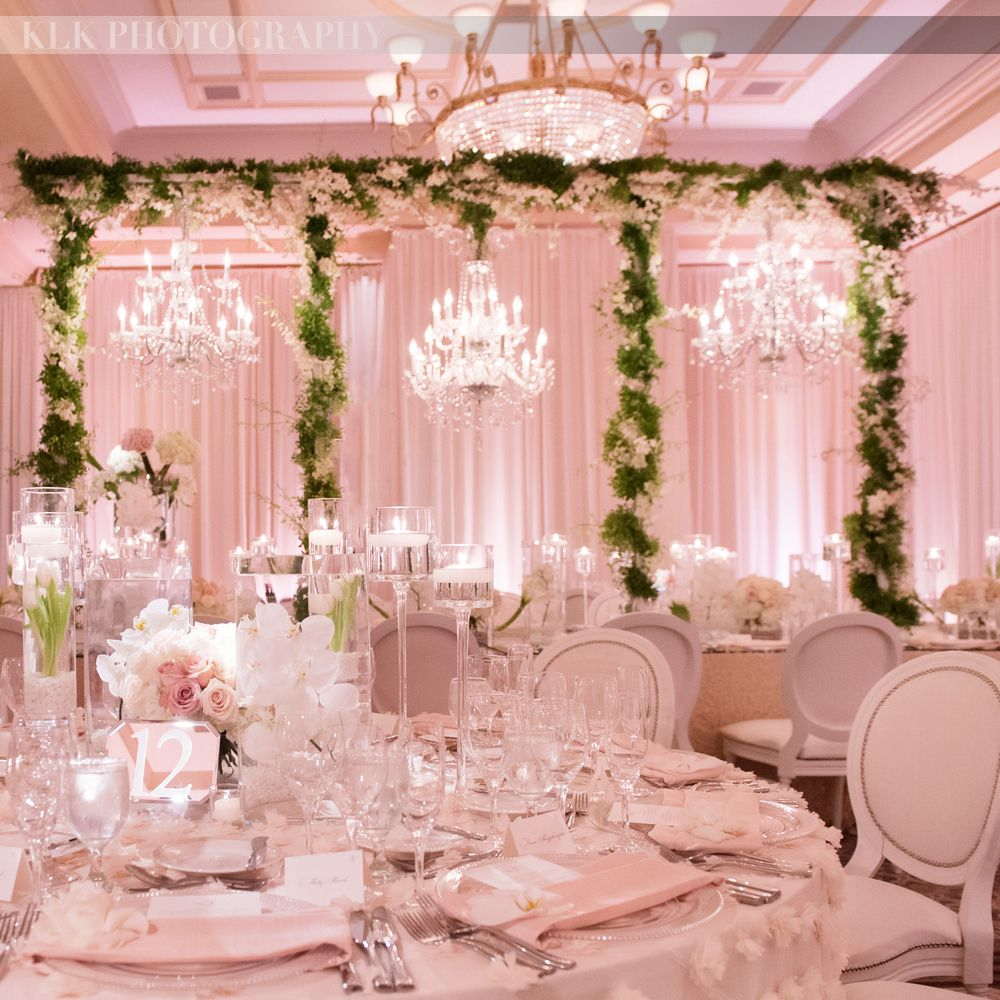 Crystal And White Wedding Theme: All Pink Wedding Reception, Greenery, Green Garlands