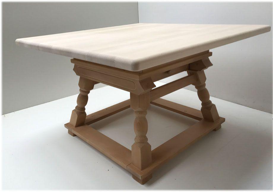 Jogl-Tisch 120/120 cm massive Ahornplatte m. Schublade ...