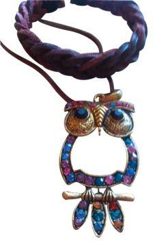 Vintage Free Leather Bracelet W/ Retro Rhinestone Owl Jewelry $10
