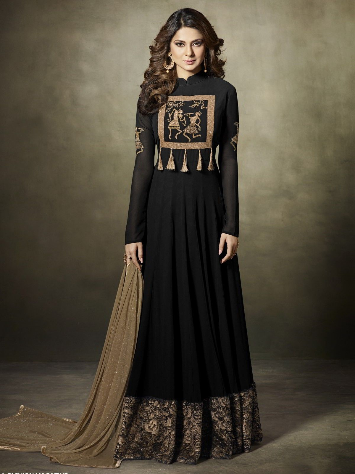 The Gorgeous Bollywood Diva Jennifer Winget Style Black Partywear Gown Suit Online Which Is Crafted From Georgette Designer Anarkali Fashion Embroidered Dress