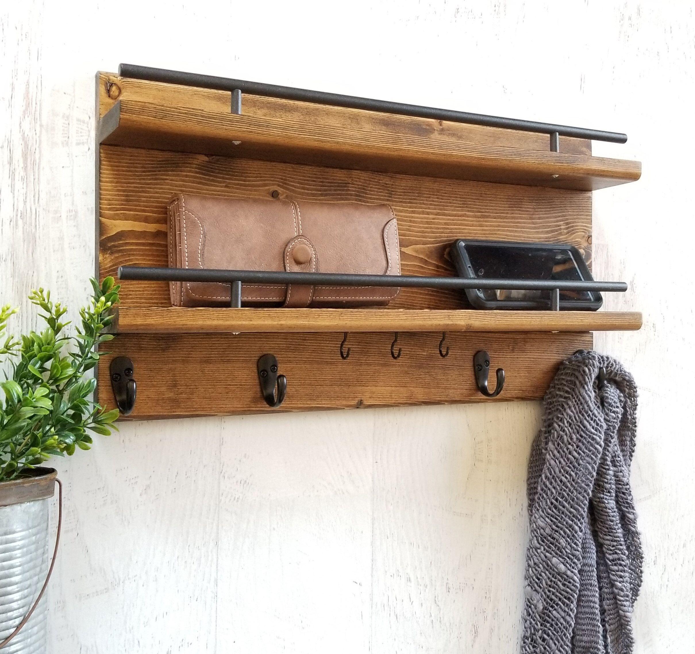 wall coat rack, entry organizer, wall organizer, coat rack, wall hook, mail organizer, wall decor, wall hangings, entryway coat rack,