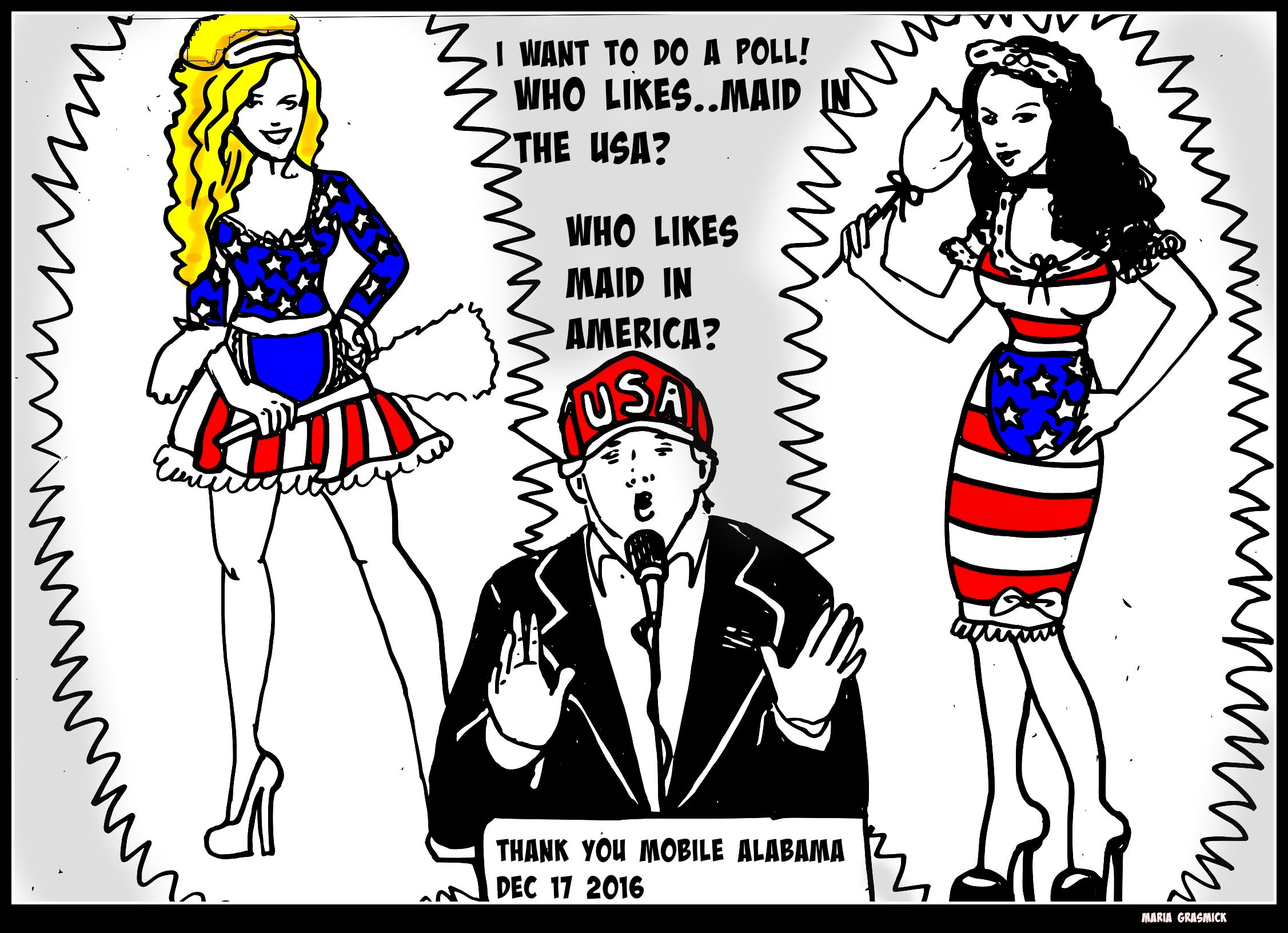 Made in USA Made in AMERICA political cartoon for donald trump