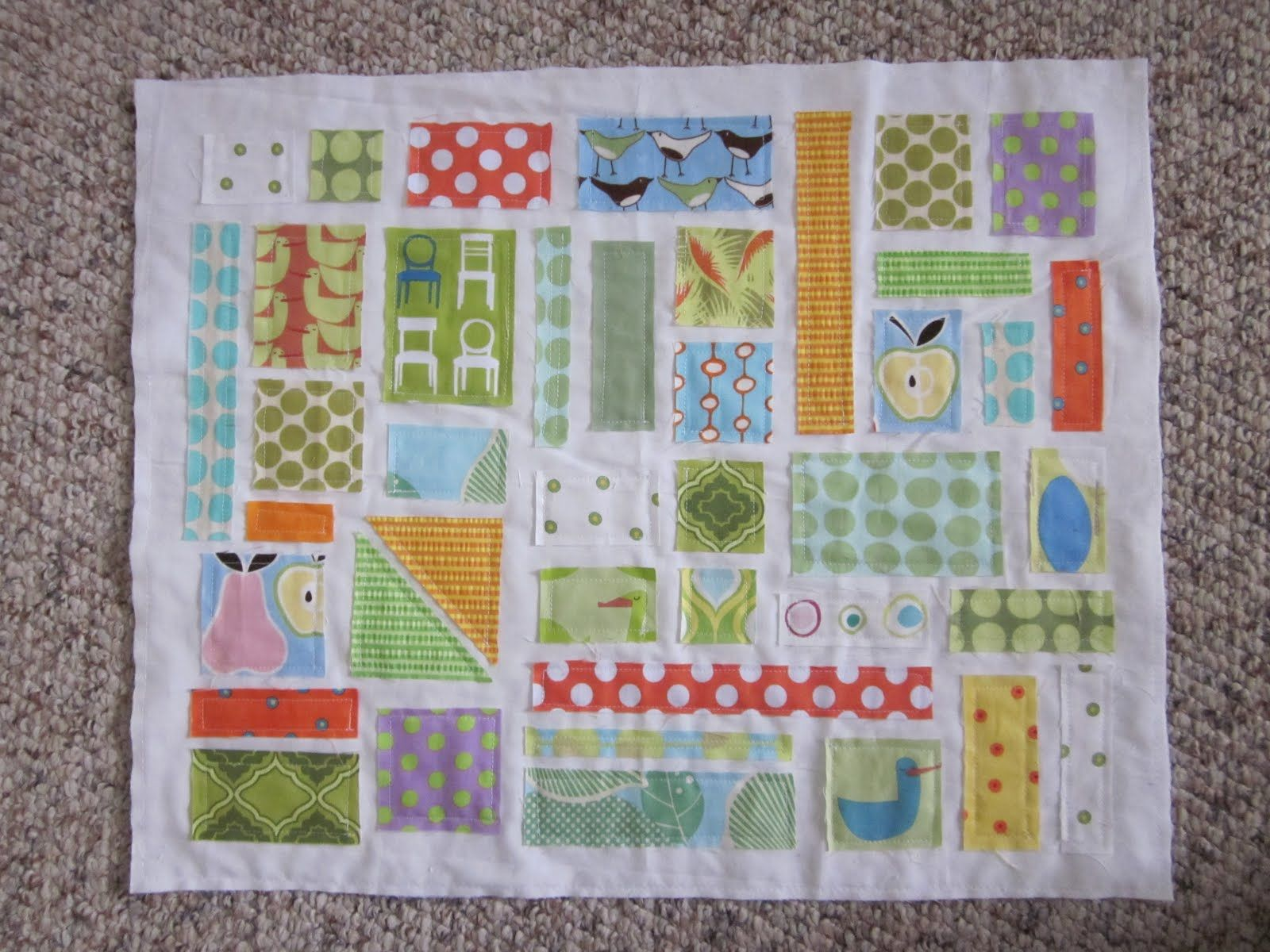 one block of a cute ticker tape quilt