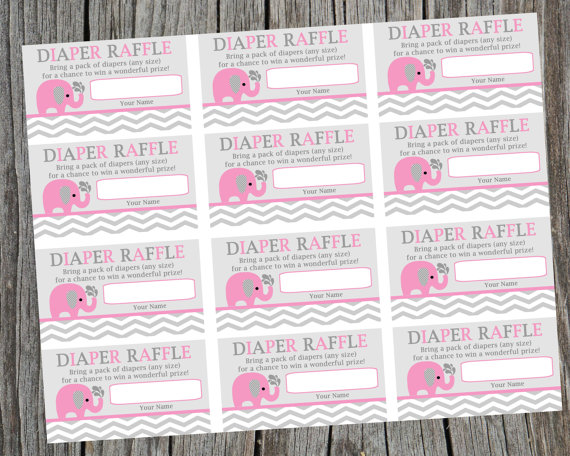 Superb Instant Download Printable Diaper Raffle Tickets. Pink Elephant And Chevron Diaper  Raffle Ticket. Baby Shower Raffle Tickets
