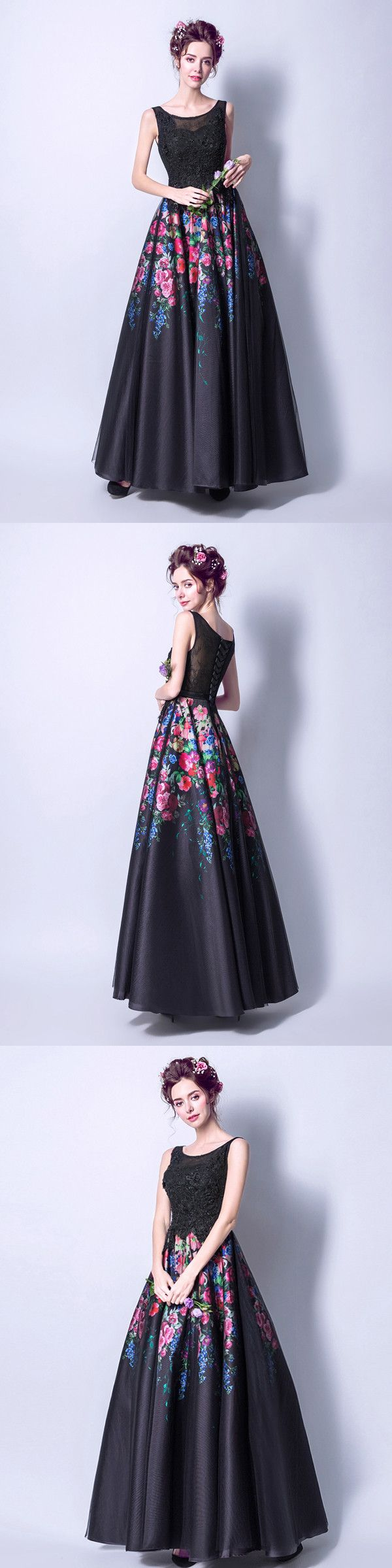 Black floral prom dress cheap long lace prom dress vb in