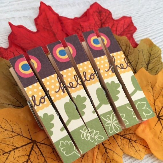 Hello Autumn -  Retro Fridge Magnet Set - Peg Magnets Magnetic Clothespins Pegs #helloautumn