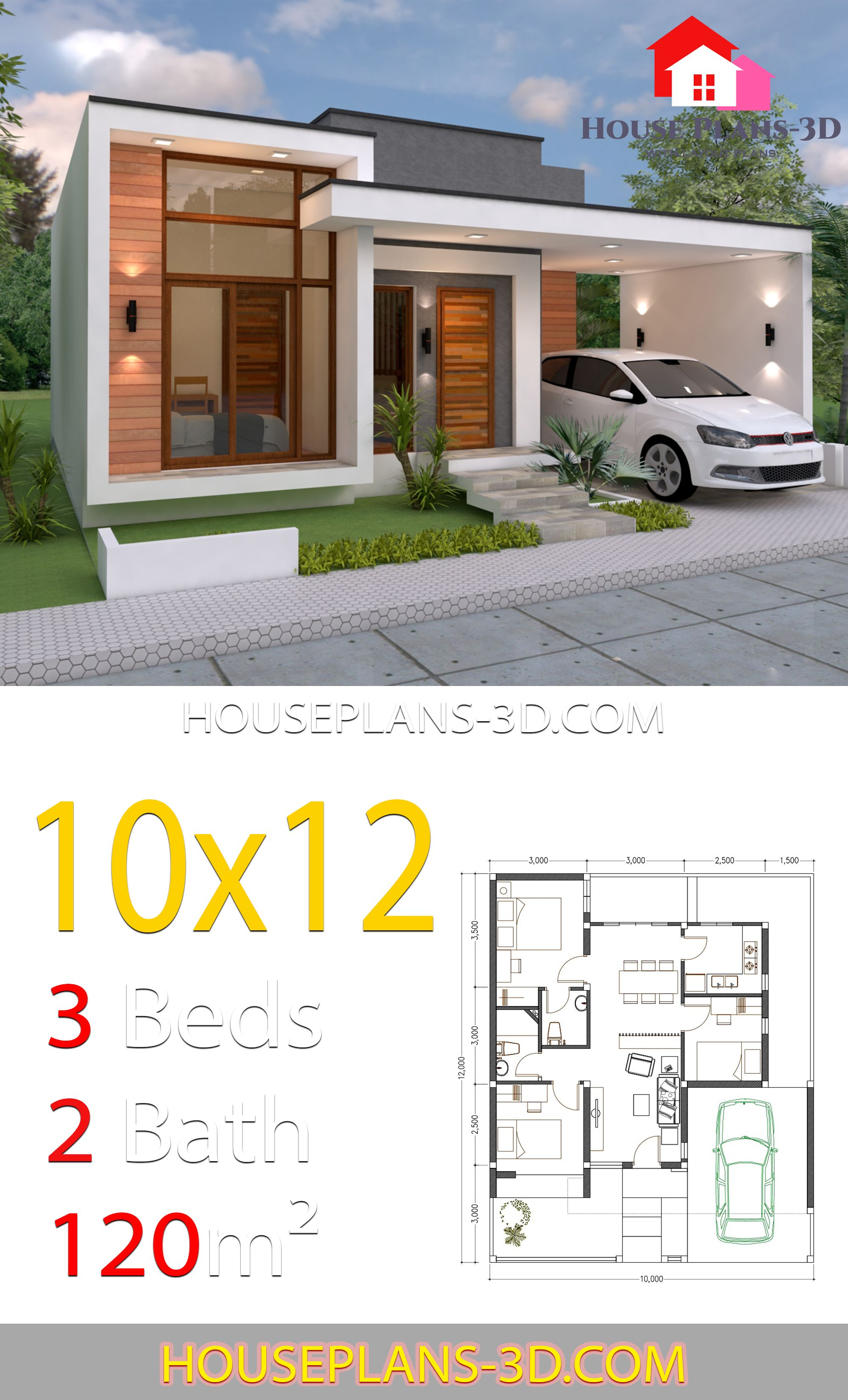 House Design 10x12 With 3 Bedrooms Terrace Roof House Plans 3d In 2020 Minimalist House Design House Plans House Construction Plan