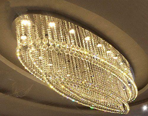 7pm W32 X D20 Modern Rain Drop Oval Clear K9 Crystal Chandelier