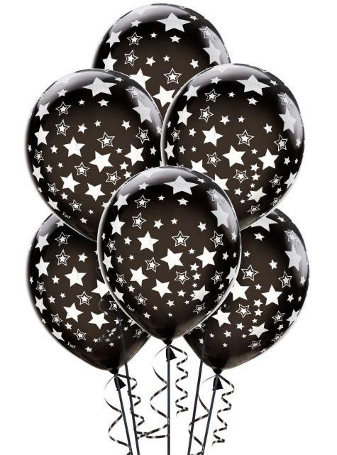 Latex Black Star Printed Balloons 12in 6ct