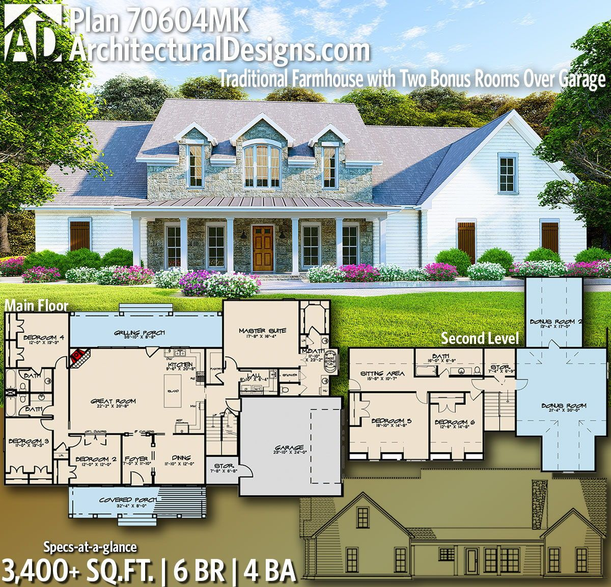 Plan 70604mk Traditional Farmhouse With Two Bonus Rooms Over Garage House Floor Plans New House Plans Building A House