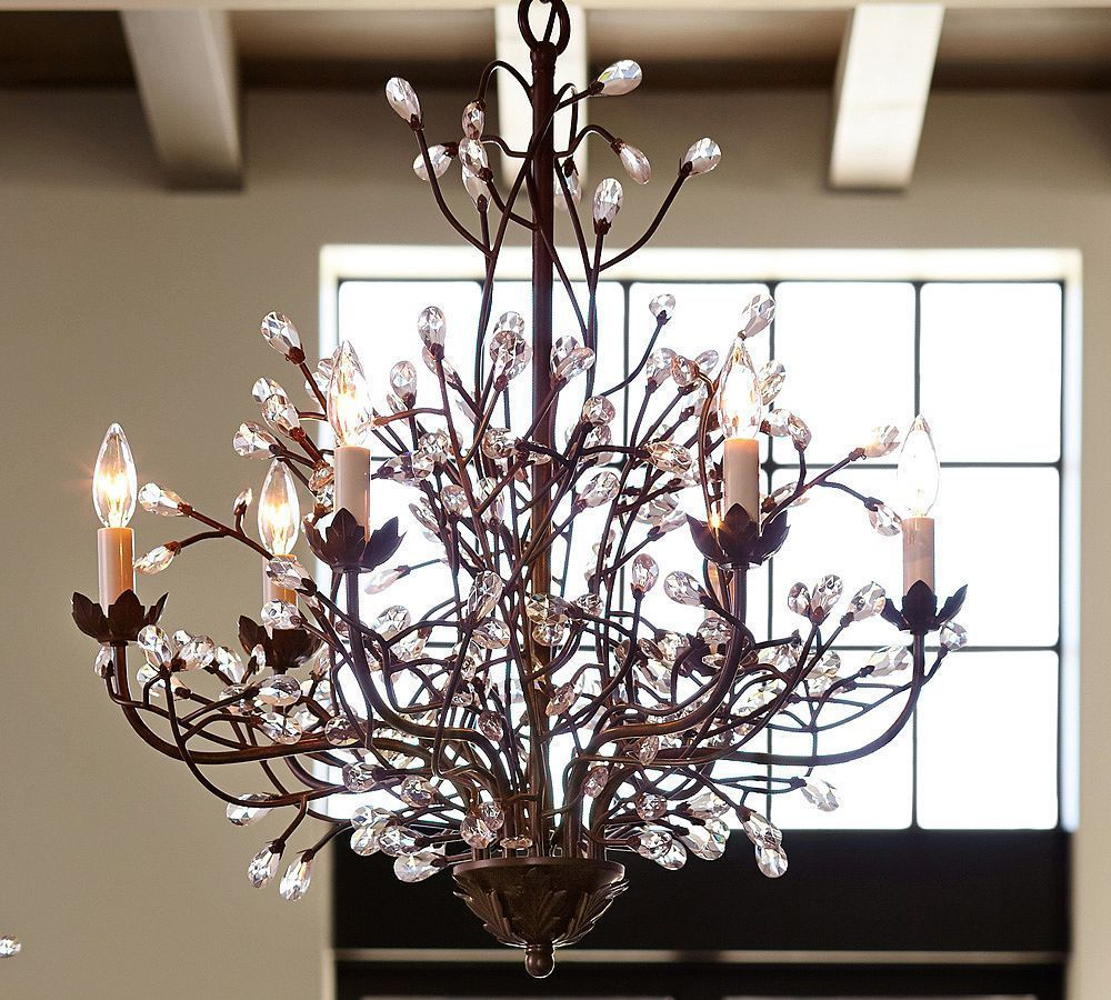Pottery barn celeste chandelier - Camilla Chandelier Pottery Barn Chandeliers Crystal Modern Brown Iron Lighting