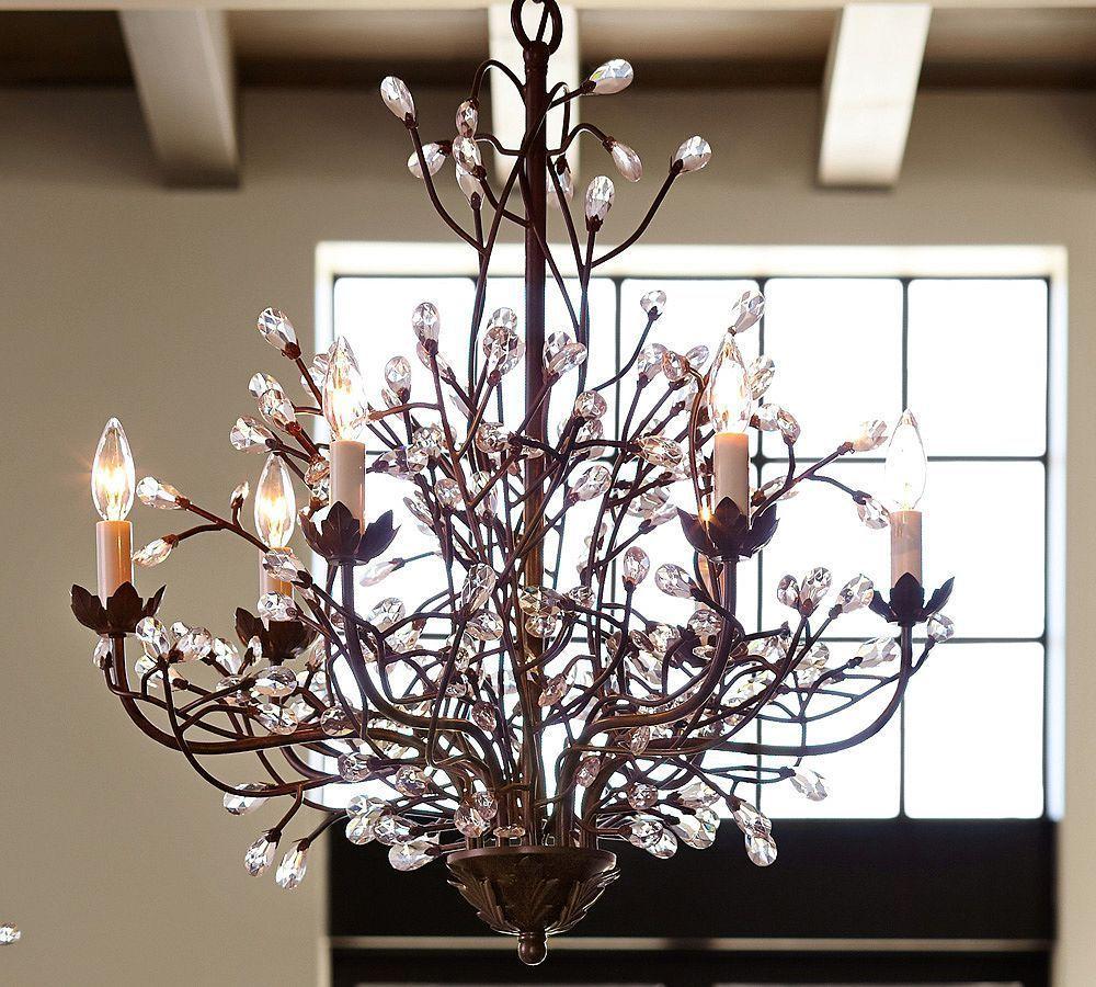 Pottery barn celeste chandelier - Camilla Chandelier Pottery Barn Chandeliers Crystal Modern Brown Iron Lighting