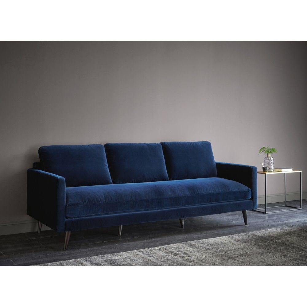 Interio Sofa Valenza Canapé 4 Places En Velours Bleu Nuit In 2019 Appart Chatou