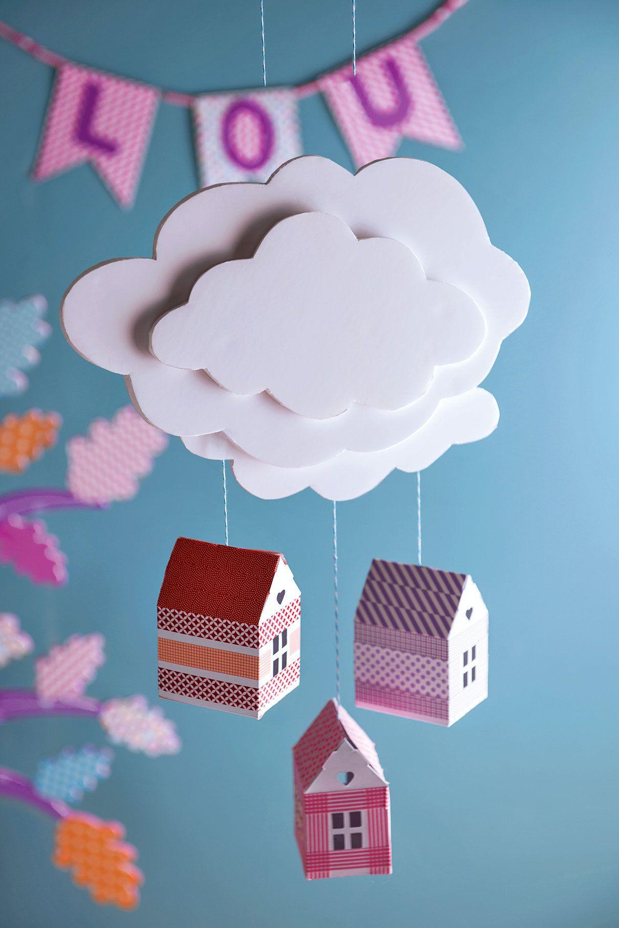 comment faire un mobile nuage pour b b diy truffaut. Black Bedroom Furniture Sets. Home Design Ideas