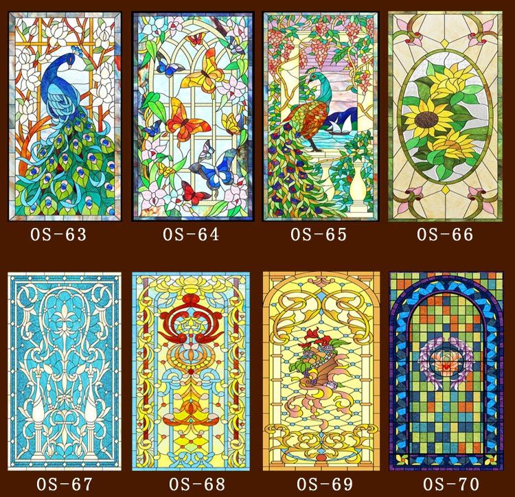 60cm*100cm/pcs Custom No glue static scrubs  translucent church stained glass windows and doors wardrobe furniture foil stickers