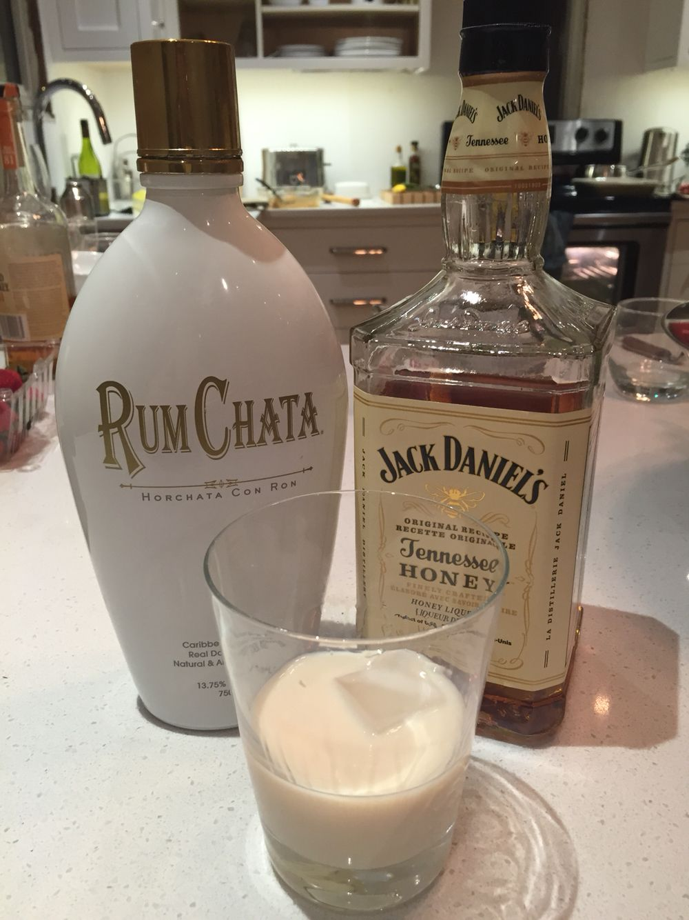 Honey badger 2 parts rum chata 1 part honey jack for Hot tea with whiskey