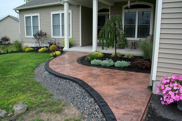 Attractive Garden Path Ideas Stamped Concrete Modern Patio Landscape Ideas