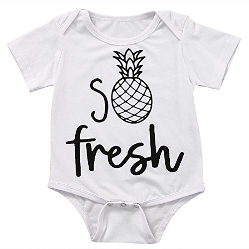 Baby Boys Girls Short Sleeve Cute Fresh Pineapple Print Bosysuit 90 612M White >>> Find out more about the great product at the image link.Note:It is affiliate link to Amazon.