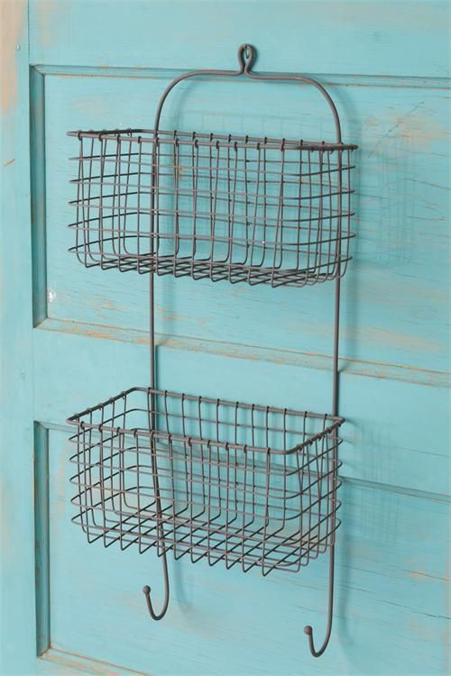 New Country Primitive Rustic Chicken Wire Spice Rack Wall Basket Key Hooks Baskets On Wall Chicken Wire Wire Wall Basket