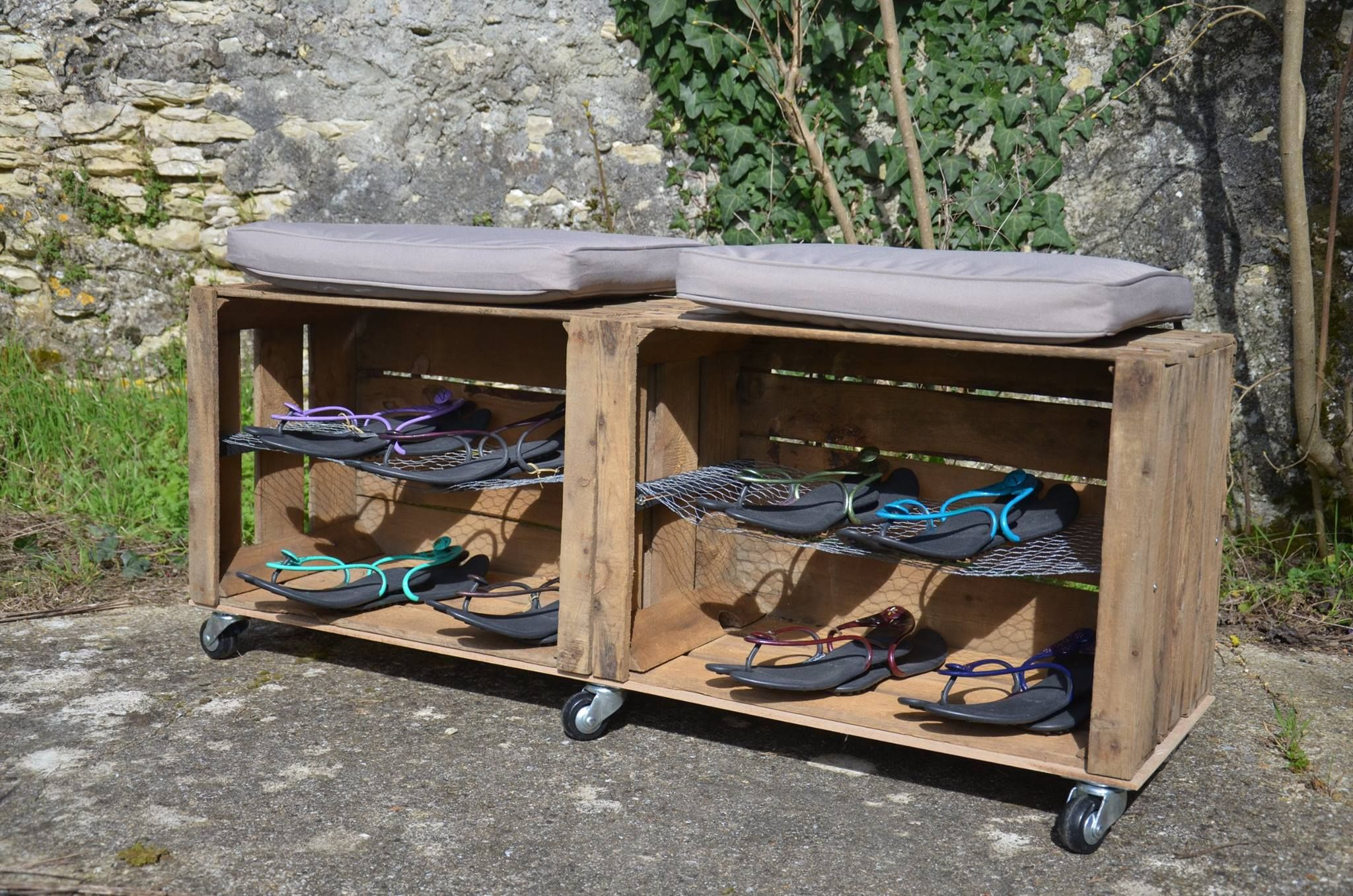 Idee Astuce Roulette Chaussure Coussin Mobile Rangement Meuble Chaussure Meuble Chaussures Palette Rangement Chaussures