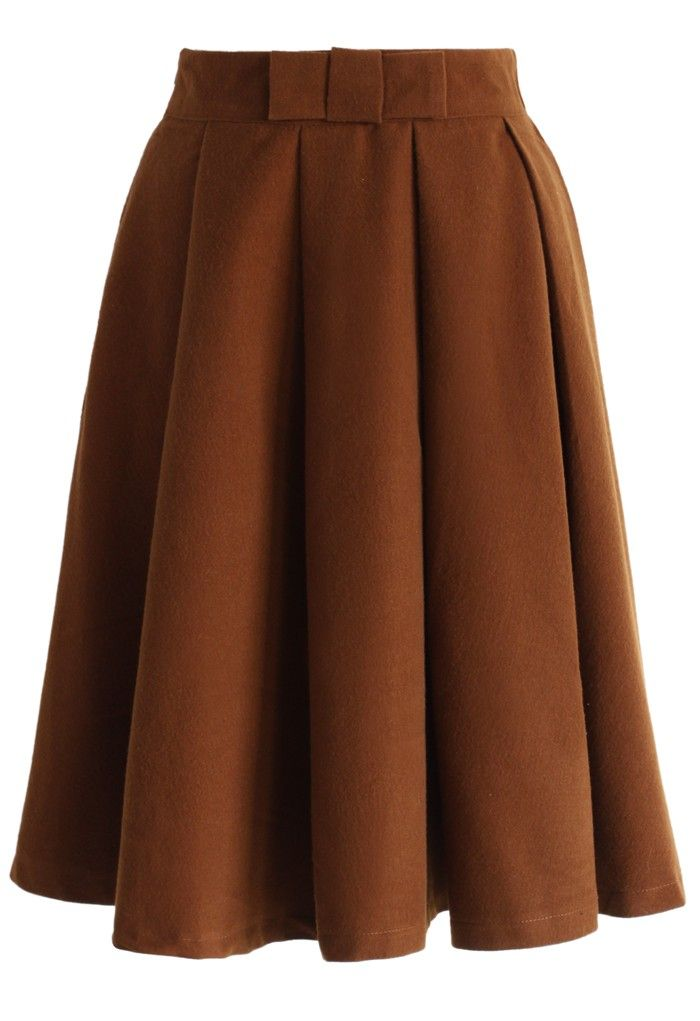 Bowknot Pleated Midi Skirt in Tan   skirt collection ...