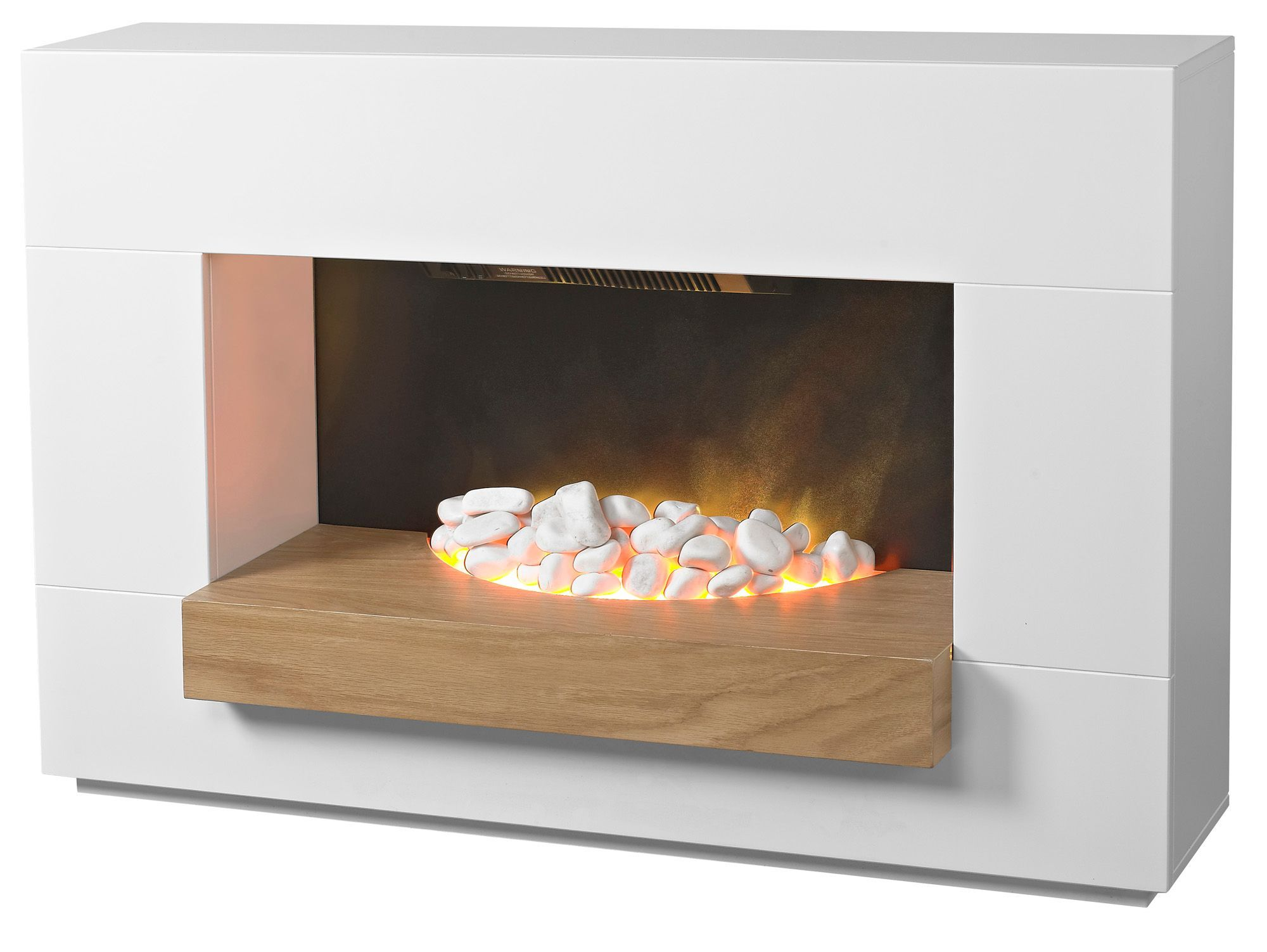 electric white grey modern 2kw pebble wall freestanding fire
