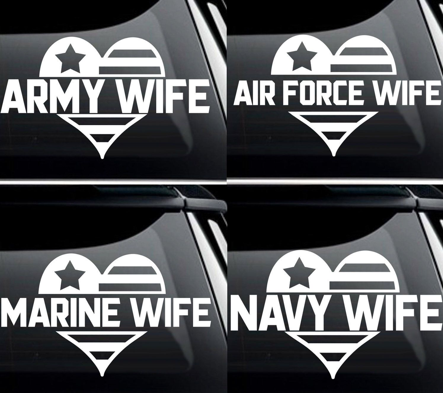 Military Wife Army, Navy, Air Force, Marine Vinyl