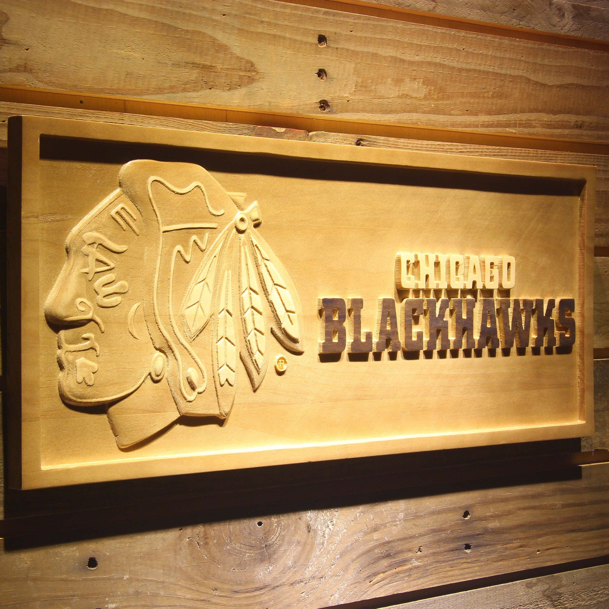 Chicago Blackhawks 3D Wooden Sign - WoodySigns Co. | NHL Signs ...