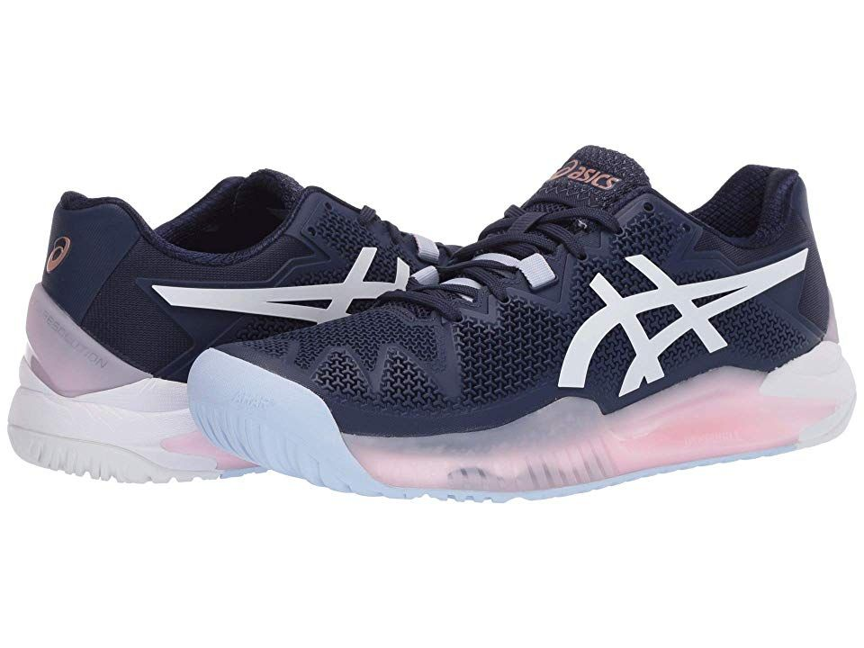 Asics Gel Resolution 8 Women S Tennis Shoes Peacoat White In 2020 Asics Shoe Size Conversion Shoe Size Chart