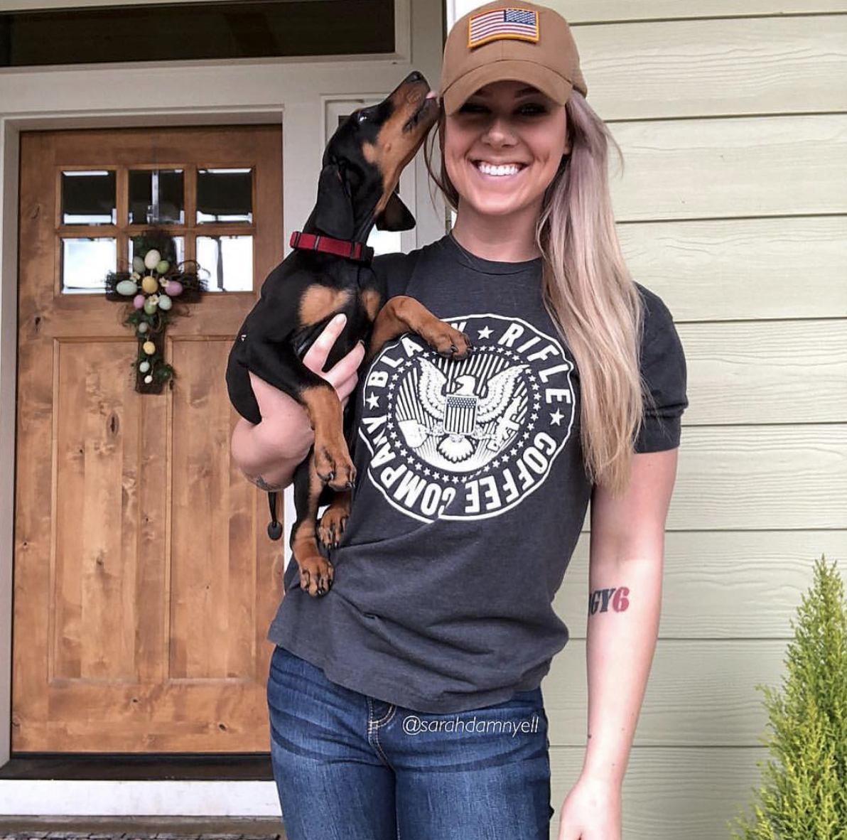 f3f342ce87e15 Black Rifle Coffee Company - Rocking our COTUS tee in style with a doggo on  hip! We have sweet shirts   Merch! Tag your pictures for a chance to be  shared!