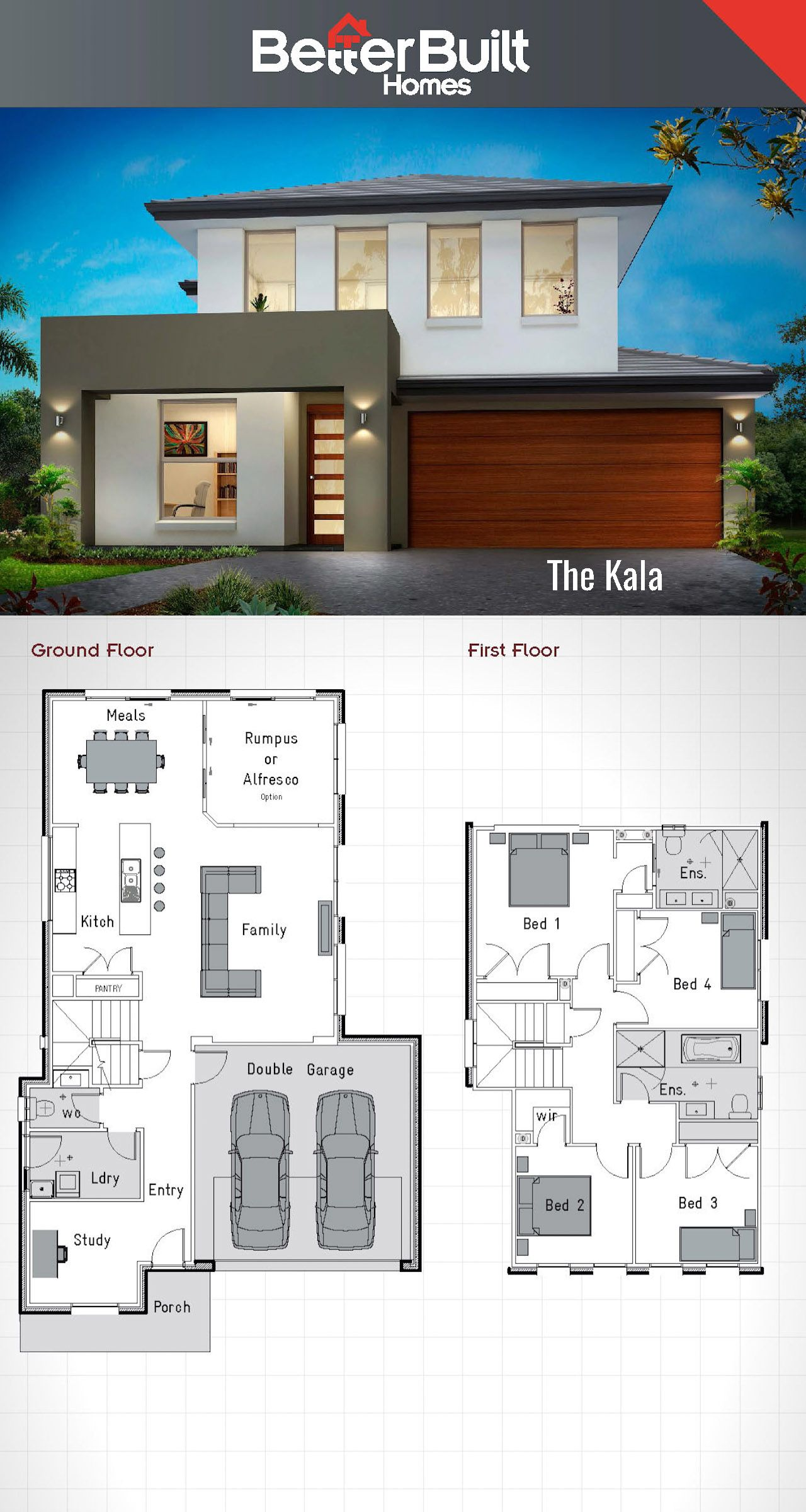 The Kala Double Storey House Design Betterbuilt