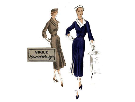 1950s Vogue Dress Pattern Front Godet Diagonal Front Seams ...