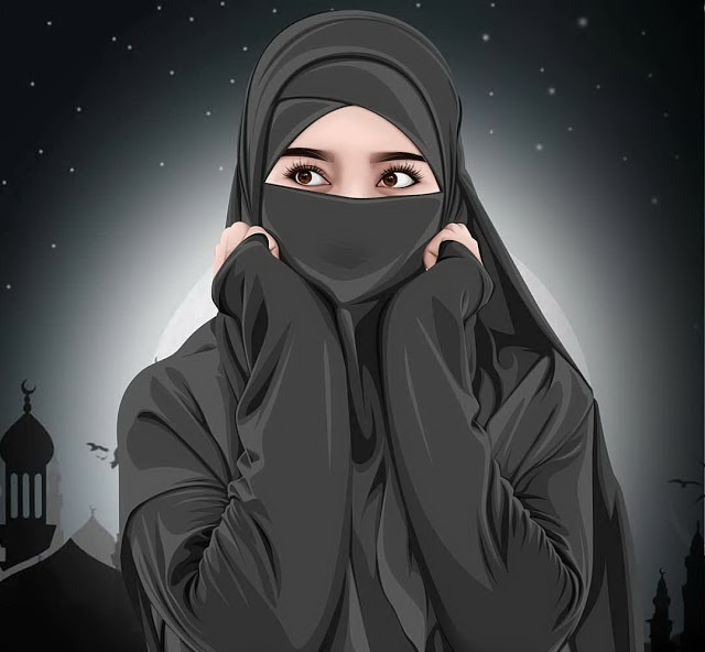 Wallpaper Kartun Hijab Muslimah Berkerudung Panjang Kartun Hijab Kartun Gadis Kartun
