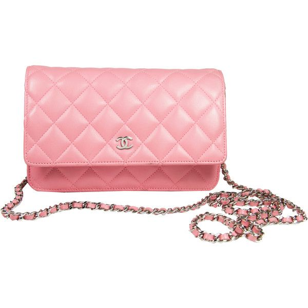 Pre-Owned Chanel Wallet on Chain WOC in Pink Lambskin ($2,400) ❤ liked on Polyvore featuring bags, wallets, pink, multi color wallet, hardware bag, pink bag, party bags and pink wallet