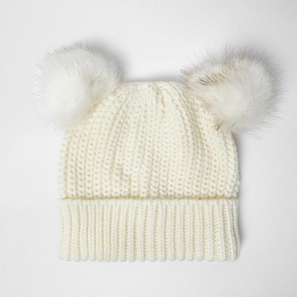 3ff4c9247dc River Island Cream double pom pom beanie ( 19) ❤ liked on Polyvore  featuring accessories