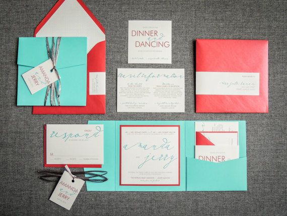 680 Aqua And Red Wedding Invitation Calligraphy By JulieHananDesign