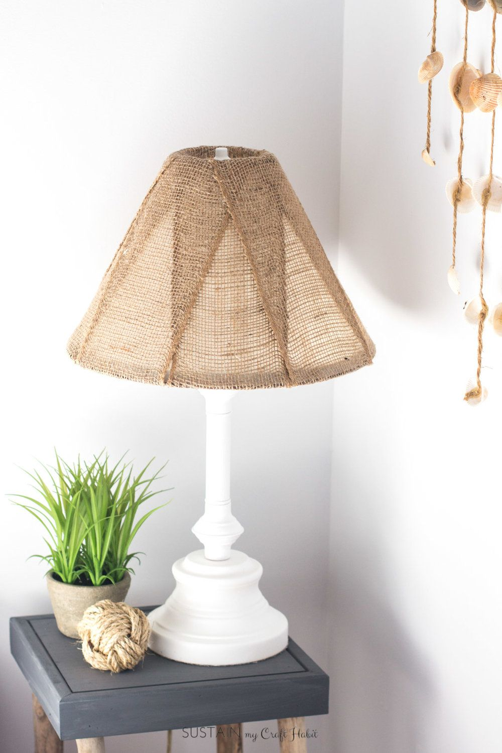 A Diy Brass Lamp Makeover With A Burlap Lampshade Burlap