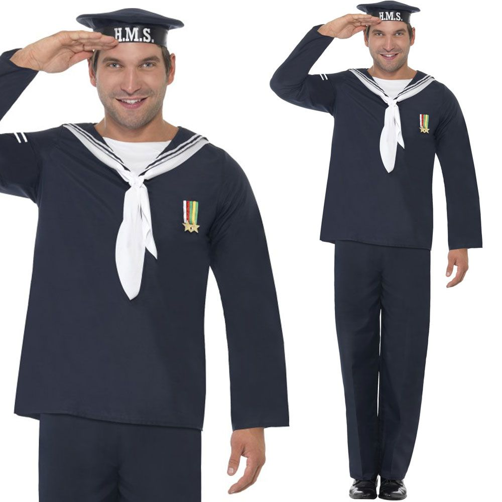 59f5cb6a8 Mens 1940s Navy Fancy Dress Costume - World War 2 Naval Uniform Army Outfit