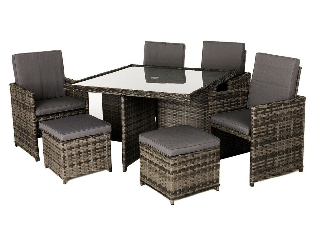 Garden Cube Set Rattan Dining Furniture Table Chairs Footstool Outdoor Square