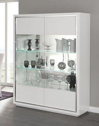 Argentier Design Welsh Dresser With 2 Gl Doors Palmira Colour High Gloss White Light Co Uk Kitchen Home