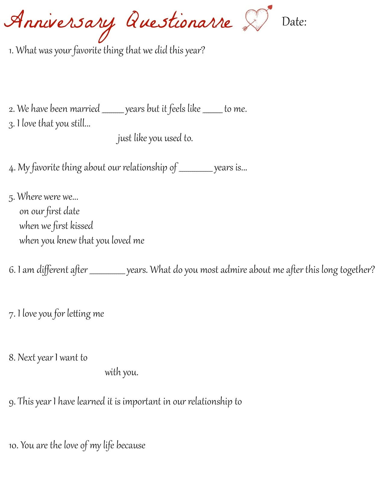Anniversary Questionnaire: Such a fun sheet to fill out each year ...