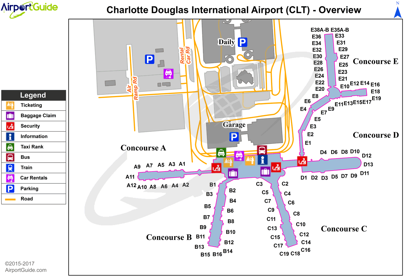 charlotte north carolina airport map Pin On Airport Terminal Maps Airportguide Com charlotte north carolina airport map