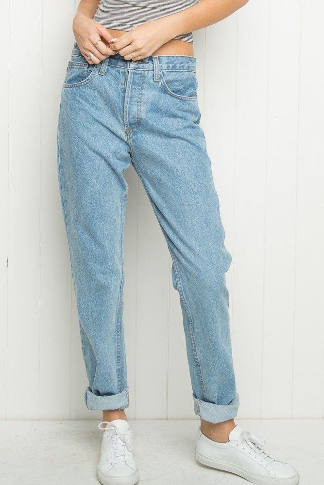 Brandy Melville High Rise Mom Jeans Bottoms Clothing Modestil Tuch Mutter Jeans