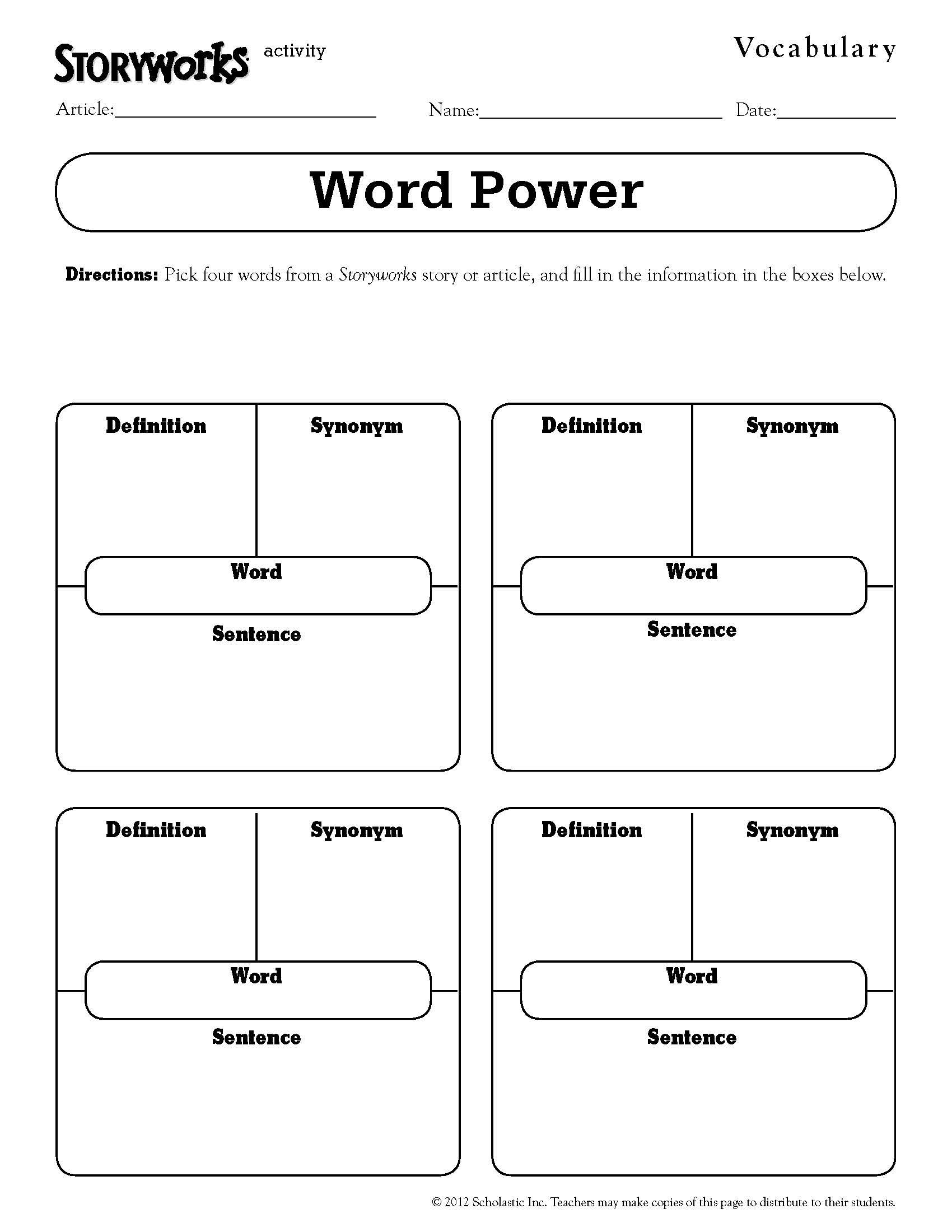 Quick And Easy Vocabulary Activity