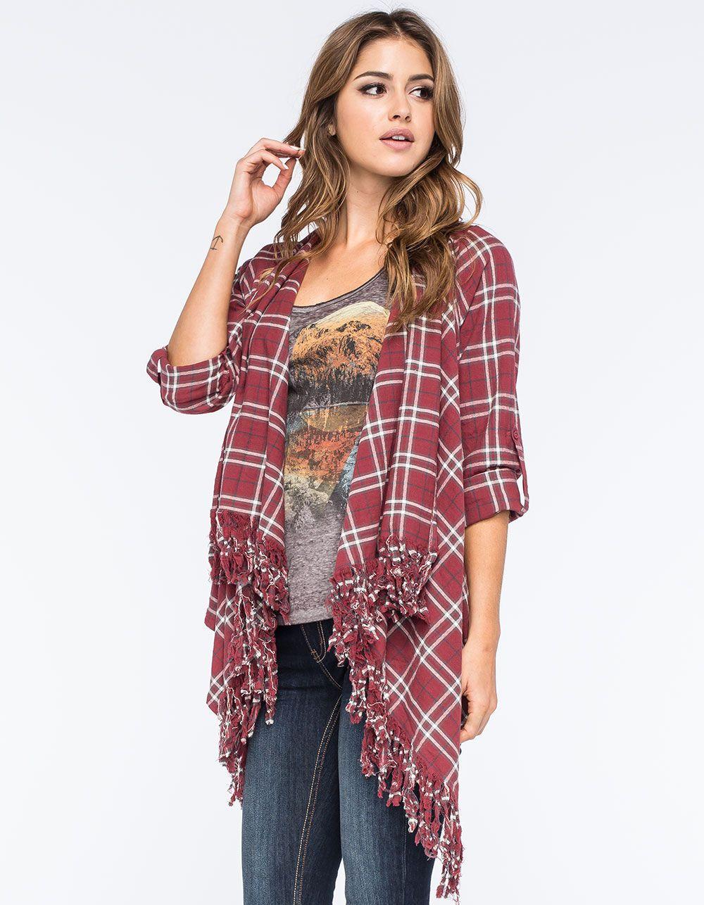 Flannel cardigan womens  EN CREME Fringe Plaid Womens Wrap  wear  Pinterest  Plaid Wraps