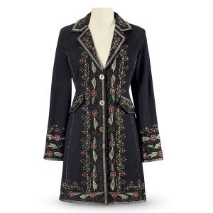 What I love, back details.  Embroidered Blossoms Coat - Women's Clothing & Symbolic Jewelry – Sexy, Fantasy, Romantic Fashions