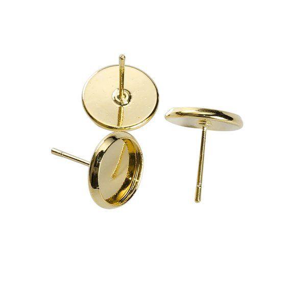 50 pcs.Silver Plated Earring Posts Settings Bezels Cabochons Tacks-12mm Glue Pad