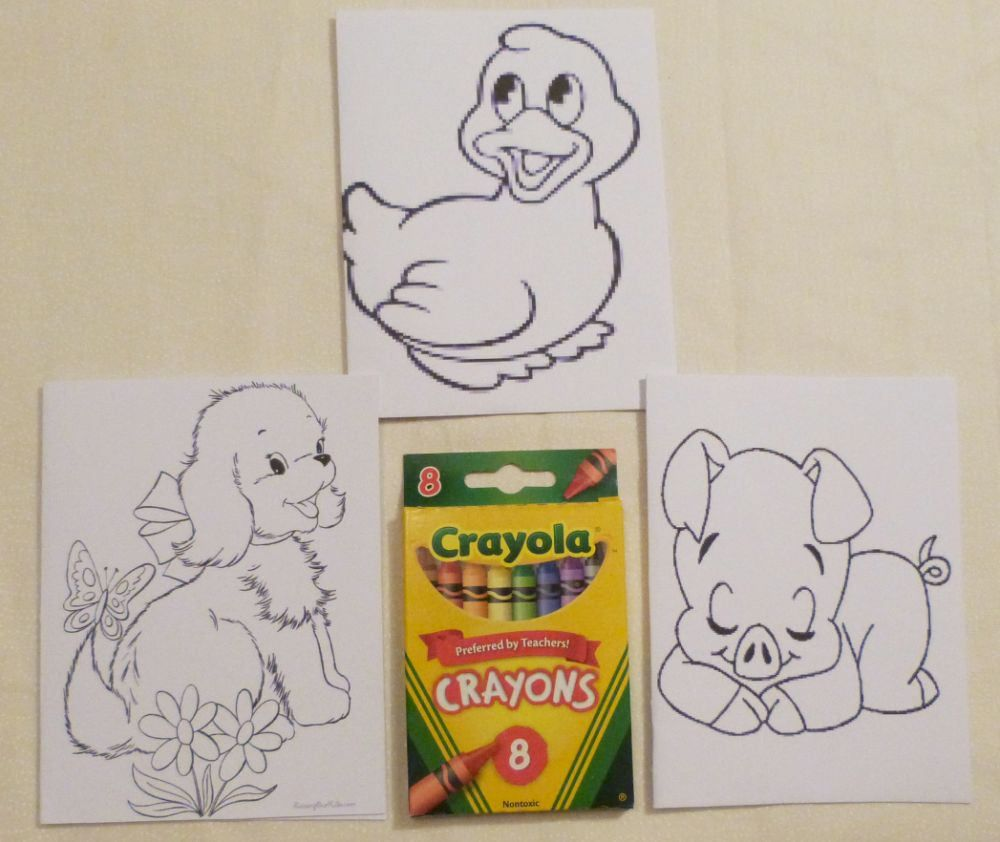 Kids Set Of 3 Color Me Cards And A Pack Of Colors Childs All
