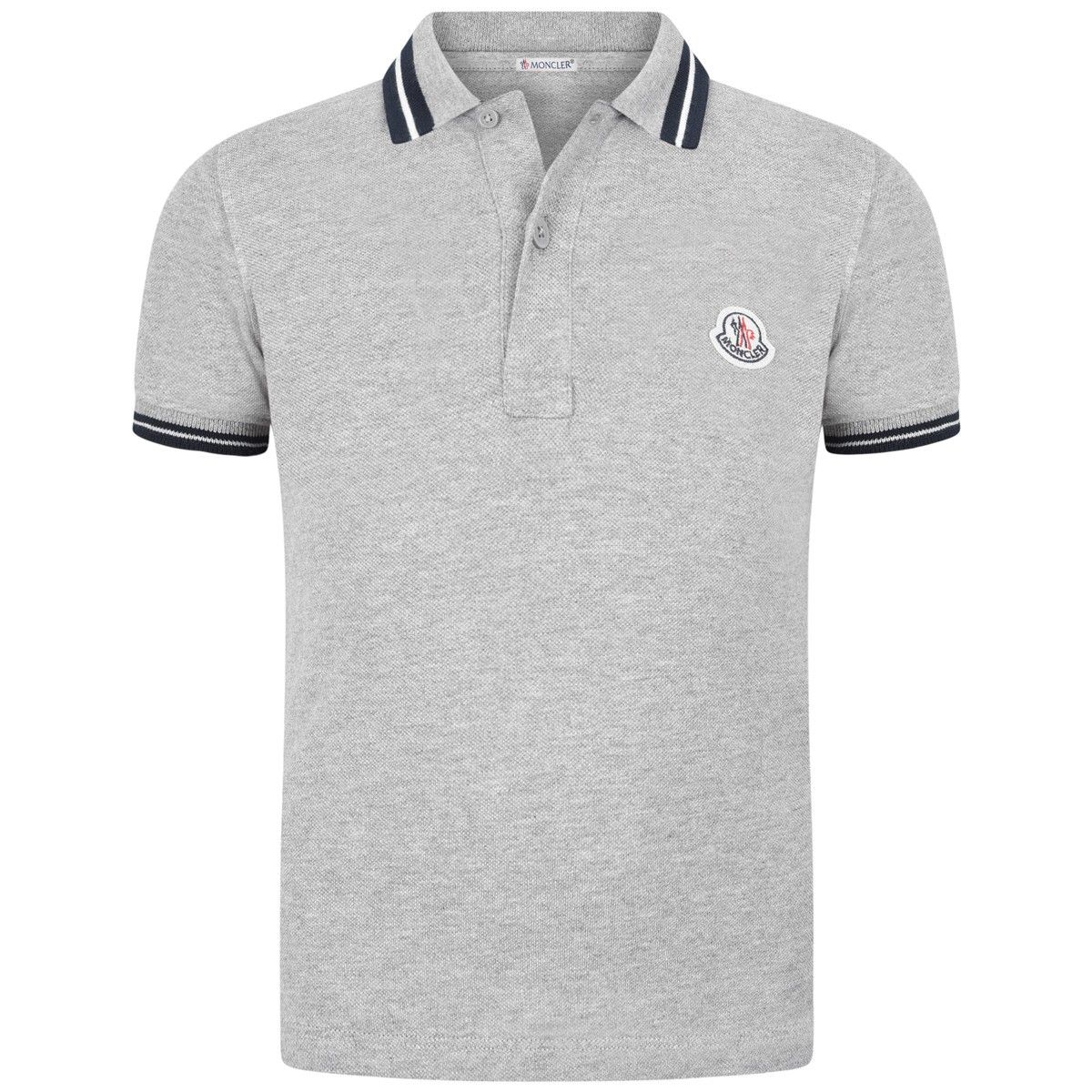 Moncler Baby Boys Grey Polo Top With Striped Collar