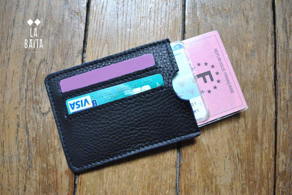 Porte carte homme cuir noir finition tranche bleue couture accessoires pour les grands porte - Porte carte cuir homme luxe ...
